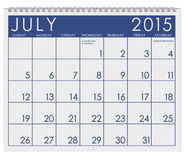 2015 Calendar: Month Of July. 12 image series of months on the year in a 3d rendered calendar royalty free illustration