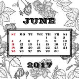 Calendar month of June 2017 against the background of roses. Calendar month of June 2017 against the backdrop of the garden roses Vector Illustration