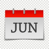 Calendar month June icon on gray and red color on transparent b. Ackground. Layers grouped for easy editing illustration. For your design Stock Illustration
