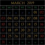 March 2019 square on black. 2019 Calendar for the month of March on black background rectangles bordered with white royalty free illustration