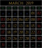 2019 Calendar for the month of March. On black background rectangles bordered with white vector illustration