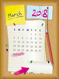 2018 calendar - month March - cork board with notes. And pushpins, torn paper and pencil stock illustration