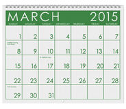 2015 Calendar: Month Of March. 12 image series of months on the year in a 3d rendered calendar Stock Photos