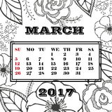 Calendar month of March 2017.Vintage floral card with garden flowers. Romantic background Stock Illustration