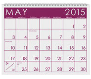 2015 Calendar: Month Of May. 12 image series of months on the year in a 3d rendered calendar Royalty Free Illustration