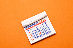 Calendar. In the month of November Stock Image