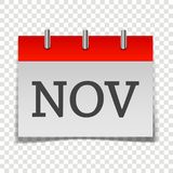 Calendar month November icon on gray and red color on transpare. Nt background. Layers grouped for easy editing illustration. For your design Stock Illustration