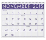 2015 Calendar: Month Of November. 12 image series of months on the year in a 3d rendered calendar Royalty Free Stock Photography