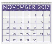 2017: Calendar: Month Of November With Thanksgiving,. 12 image series of months on the year in a 3d rendered calendar Stock Photos