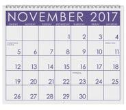 2017: Calendar: Month Of November With Thanksgiving, Stock Photos