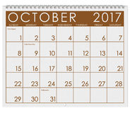 2017: Calendar: Month Of October With Halloween. 12 image series of months on the year in a 3d rendered calendar Royalty Free Stock Photo