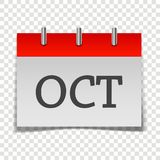 Calendar month October icon on gray and red color on transparen. T background. Layers grouped for easy editing illustration. For your design Vector Illustration