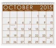 2015 Calendar: Month Of October. 12 image series of months on the year in a 3d rendered calendar vector illustration