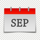 Calendar month September icon on gray and red color on transpar. Ent background. Layers grouped for easy editing illustration. For your design Vector Illustration