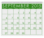 2015 Calendar: Month Of September. 12 image series of months on the year in a 3d rendered calendar Royalty Free Stock Images