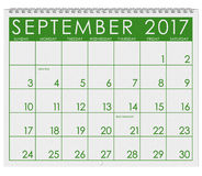 2017: Calendar: Month Of September With Labor Day. 12 image series of months on the year in a 3d rendered calendar Royalty Free Stock Photo