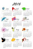 2016 Calendar. A monthly calendar of 2016 with illustrations for each month of the year Royalty Free Stock Images