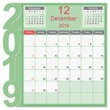 December 2019 Calendar Monthly Planner Design vector illustration
