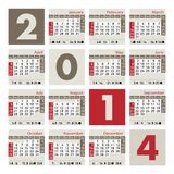 A 2014 calendar. A monthly calendar for 2014, starting with Sundays. Moon phases included for each month Vector Illustration