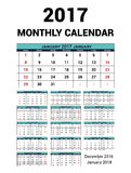 Calendar monthly for 2017 Year. Vector Stationery Design Print Template. Week Starts Sunday. 14Months - december 2016 -. January 2018. Calendar 2017 grid Royalty Free Illustration