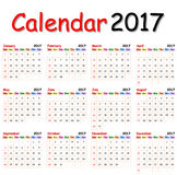 Calendar 2017. Royalty Free Stock Photography
