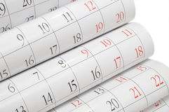 Calendar. Months and dates shown on a calendar whilst turning the pages Royalty Free Stock Images