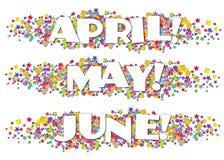 Calendar Months Newsletter Decorative April May June. Stars confetti colorful bright fun birthday stock illustration