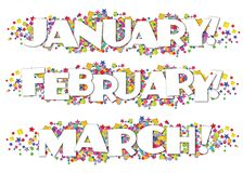 Calendar Months Newsletter Decorative January February March. Stars confetti colorful bright fun birthday royalty free illustration