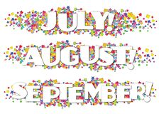 Calendar Months Newsletter Decorative July August September. Stars confetti colorful bright fun birthday royalty free illustration