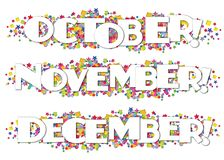 Calendar Months Newsletter Decorative October November December. Stars confetti colorful bright fun birthday stock illustration