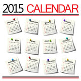 2015 Calendar. Months on paper sheets against white background Stock Illustration