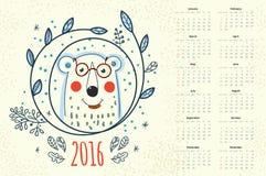 Calendar 12 months. Polar bear in a wreath winter Stock Photo