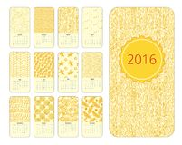 Calendar 12 months. Vertical with hand drawn designs. Yellow and white vector illustration