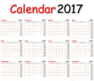 Calendar 2017. Stock Photos