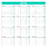 2016 calendar. (12 months), weeks start from Monday Royalty Free Stock Image