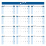 2016 calendar,12 months. 2016 calendar ,12 months, weeks start from Sunday Stock Images