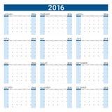 2016 calendar,12 months Stock Images