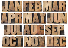 Calendar months in wood type Stock Photography