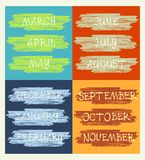 Calendar, months of the year, handwritten text Royalty Free Stock Photos
