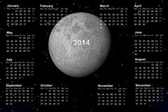Calendar 2014. And moon grey Royalty Free Stock Images