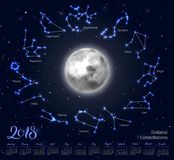 Calendar, moon, zodiac constellations, 2018, night sky background, lettering. Wall planner in astrological theme. Vector illustration of scheduler Stock Images
