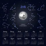 Calendar, moon, zodiac constellations, 2018, night sky background, lettering. Wall planner in astrological theme. Vector illustration of scheduler Royalty Free Stock Photography