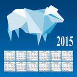 Calendar 2015 with a mosaic sheep on a blue background Stock Photo