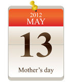 Calendar of mothers day for 2012 Stock Photography