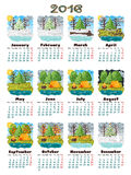 Calendar 2016 nature. Round lowpoly pixel art vector illustration