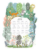 Calendar 2016 with nature theme - trees and animals. Illustration Stock Images