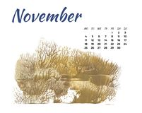 Calendar 2019 nature, forest in different season on white background royalty free stock photos