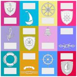 Calendar with nautical symbols. New Year banner . stock illustration