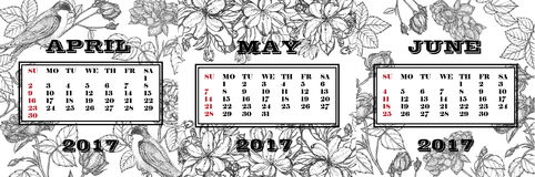 Calendar for the 2nd quarter 2017. Black-and-white calendar with painted roses, flowering branches of apple and swallows. Calendar for the 2nd quarter 2017. The Royalty Free Illustration
