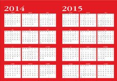 Calendar 2014 and 2015. New calendar 2014-2015 in english royalty free illustration